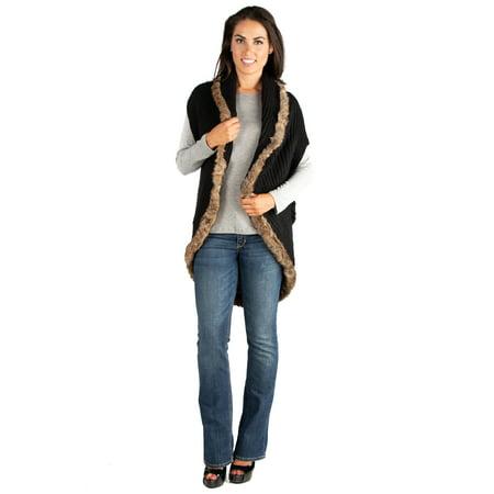Women's Faux Fur Trimmed Sleeveless Circle (Faux Fur Trim Black Sweater)