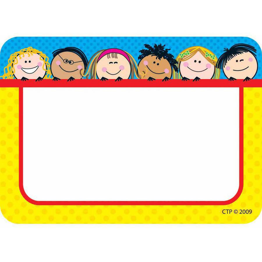 "Creative Teaching Press Nametags, Smiling Stick Kids, 3.5"" x 2.5"", Pack of 36"