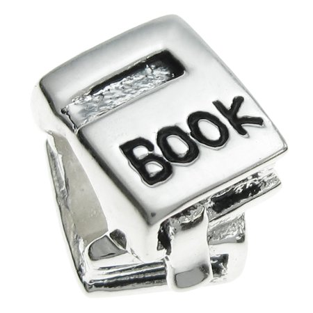 Queenberry Sterling Silver Book Reader European Style Bead Charm Fits Pandora
