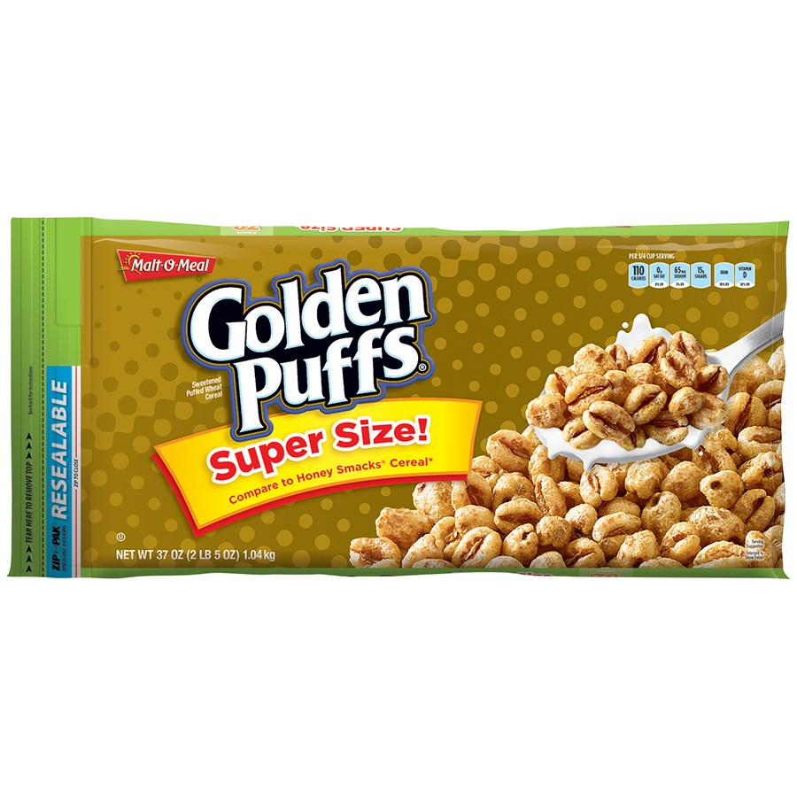 Malt-O-Meal Golden Puffs Cereal, Super Size, 37 OZ (Pack