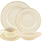 10 Strawberry Street Cream Double Gold 20-Piece Dinnerware Set with Cup and Saucer, Cream with Gold Border