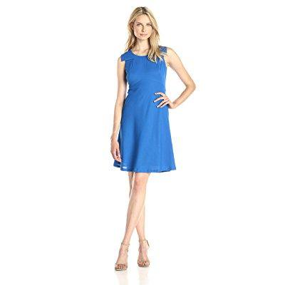 Nine West Womens Flap Sleeve Flare Skirt Dress  Marine Coast  12