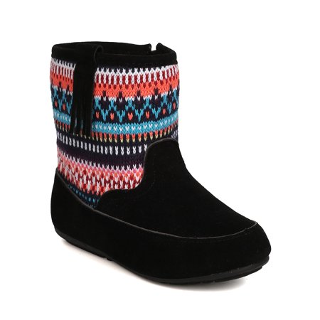 New Girl Betani Denise-4 Mixed Media Fair Isle Sweater Tall Moccasin Boot
