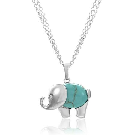 Chain Turquoise Necklace (Lesa Michele Women's Blue Turquoise Elephant Pendant 29
