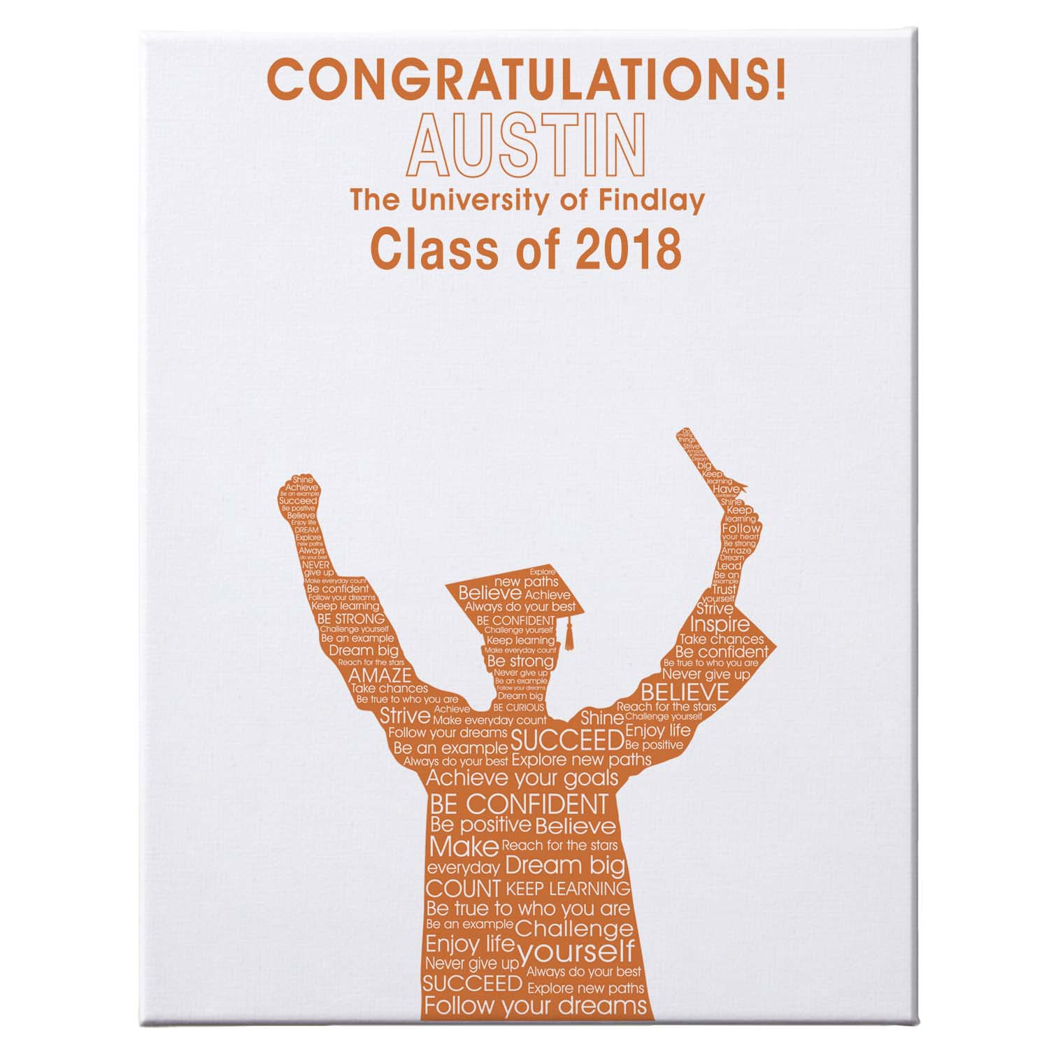 "Personalized Graduation Autograph Canvas, 16"" x 20"", Male, Available in 7 Colors"
