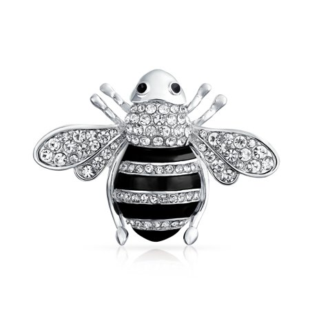 Black Or Golden Brown Crystal Large Fashion Statement Queen Bumble Bee Brooch Pin For Women For Mother Silver Plated