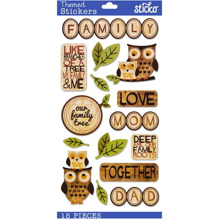 Sticko Classic Wood Family Stickers, 15 Piece