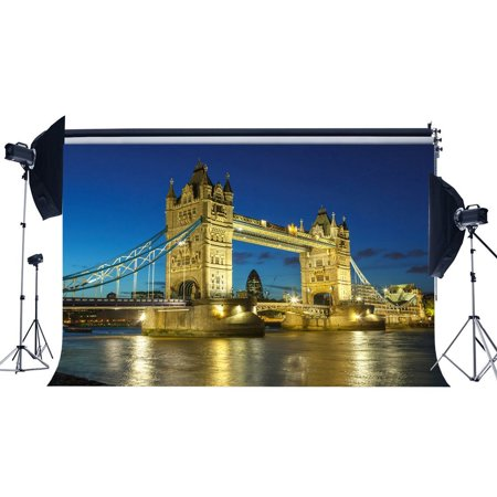 HelloDecor Polyster 7x5ft Photography Backdrop Triumphal Arch Tower Bridge Shining Lights River Blue Sky Nature Night View Wedding Backdrops for Baby Girl Lover Portraits Background Photo Studio Props](Baby Girl Background)