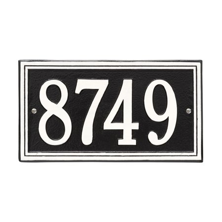 Personalized Whitehall Products Double Border1-Line House Numbers Plaque in Black/White House Number Plaque