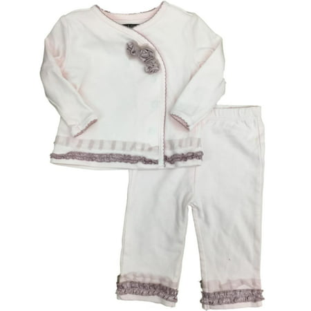 Infant Girls White & Pink Rose Ruffle Top & Legging With Ruffle 2 Piece - Wendy Outfit