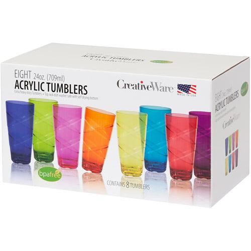 Circus 24-Ounce Multi-Colored Tumbler Set, Set of 8