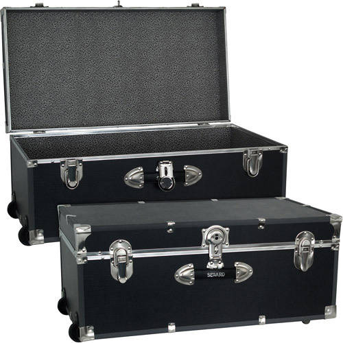 Seward Trunk Collegiate Collection Footlocker Trunk 25 Gal. Wood Storage Box with Handles, Black