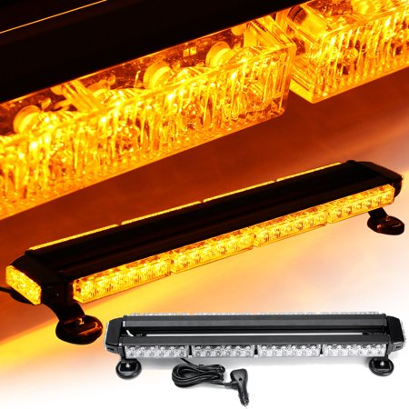 Grtsunsea 12V 54 LED Strobe Light Amber Double Side Traffic Advisor Bar Emergency Flash Light Magnetic Universal - Emergency Strobe Light Kits