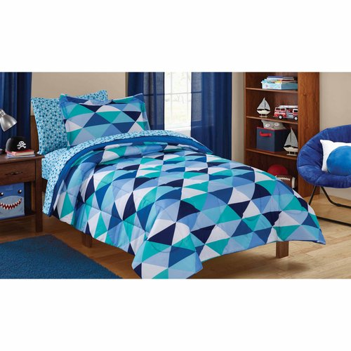 Mainstays Kids Triangles Bed in a Bag Bedding Set