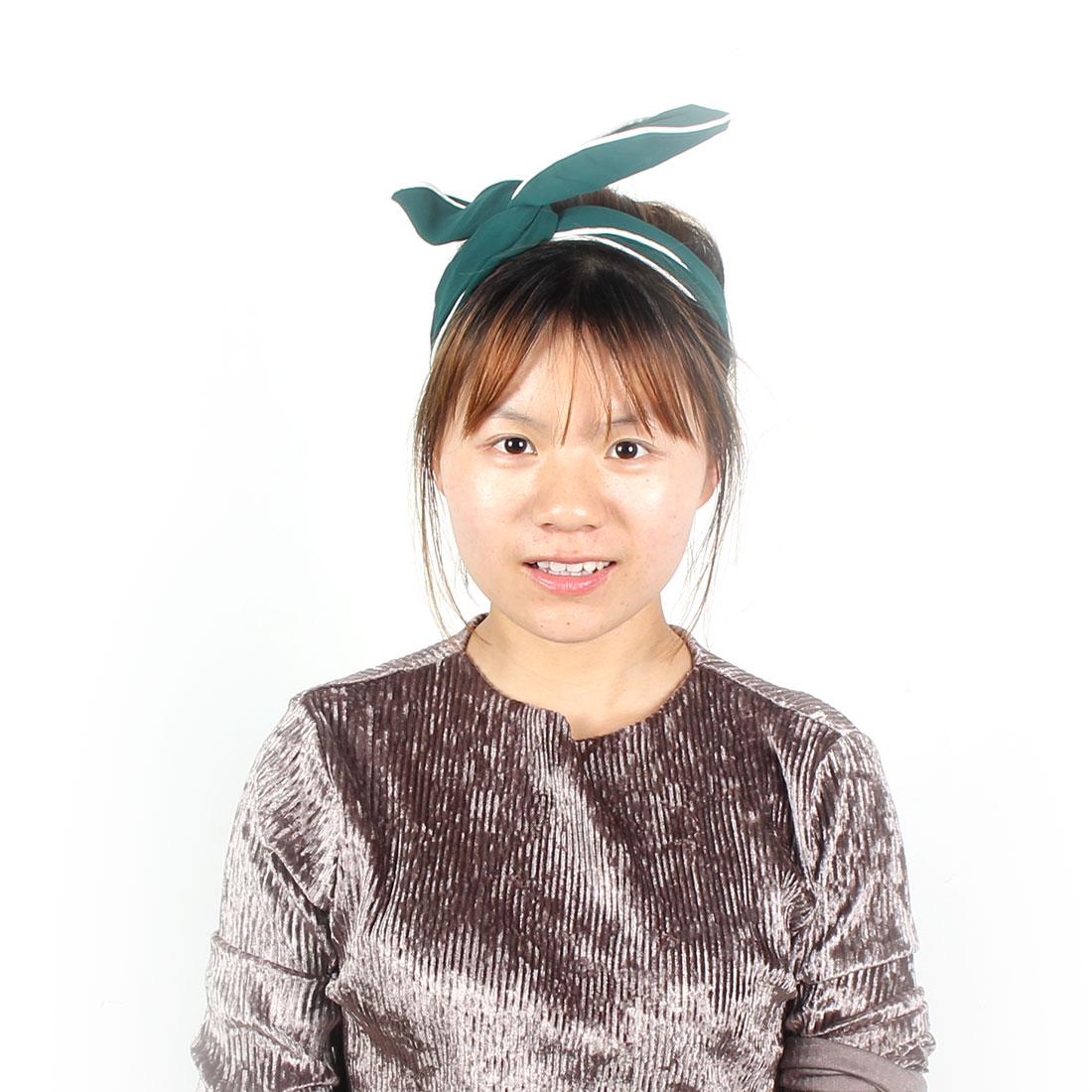 Twist Wired Adjustable Hairdressing Headband Hairband Hair Scraf Dark Green
