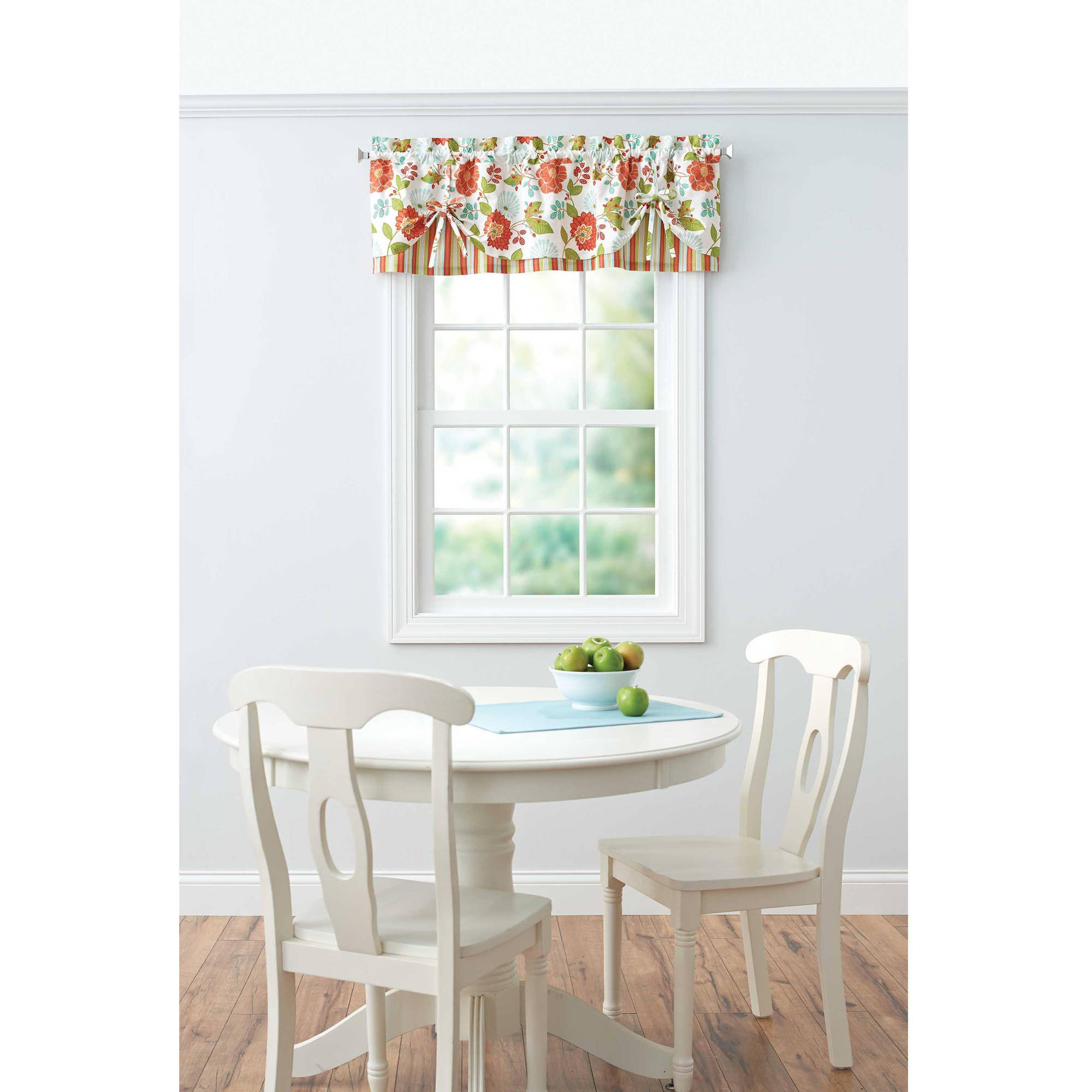 Multi Color Floral Print Stripe Kitchen Curtains Valance Set