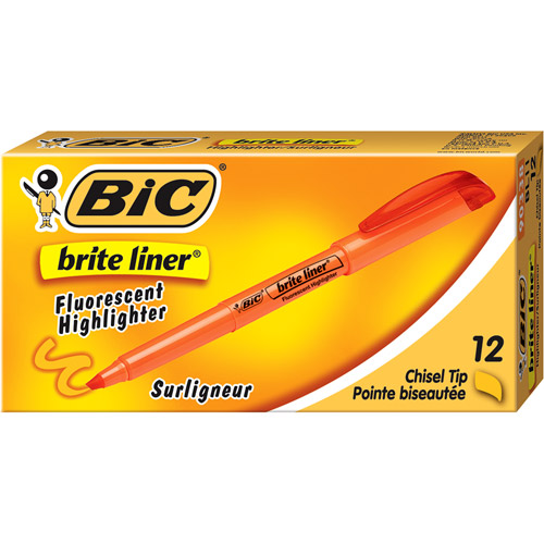 BIC Brite Liner Highlighter, Chisel Tip, Green, 1-Dozen