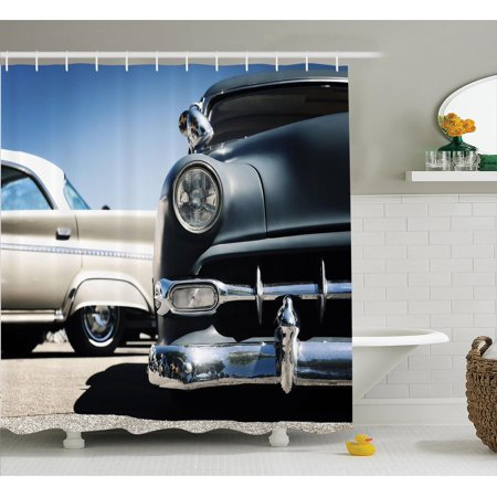 Old Car Decorations Shower Curtain Set, American Classics Old Style Fifties Auto Wheels Transportation History Art Print, Bathroom Accessories, 69W X 70L Inches, By - Fifties Decorations