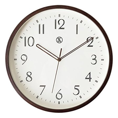 "JustNile x A.Cerco 12"" Analog Wall Clock, Silent Precise Sweep Movement, Natural Brown Maple Bent Wood Material, Modern Minimalistic Sleek Designed Bedroom Living Room Office Home Decor"