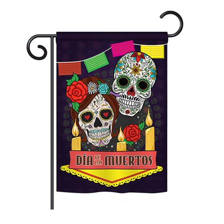 Ornament Collection - Dia de los Muertos Fall - Seasonal Halloween Impressions Decorative Vertical Garden Flag 13