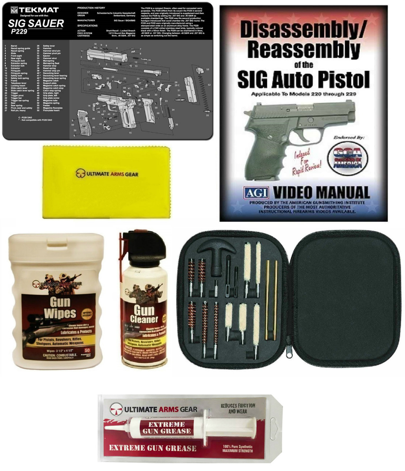 AGI DVD SIG Sauer P229 Disassembly & Reassembly + Ultimate Arms Gear Gunsmith Gun Mat + 17 pc Cleaning Supplies Kit +... by