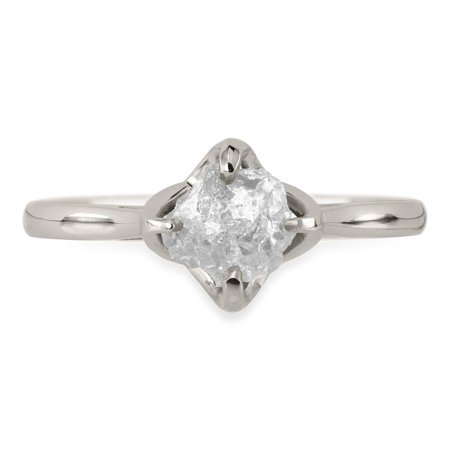 1 Carat Rough Raw Gray Diamond Classic Solitaire Ring For Women On 18K White Gold Over Silver
