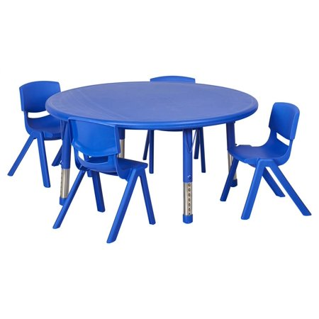 Ecr4Kids Round Resin Adjustable Activity Table Blue