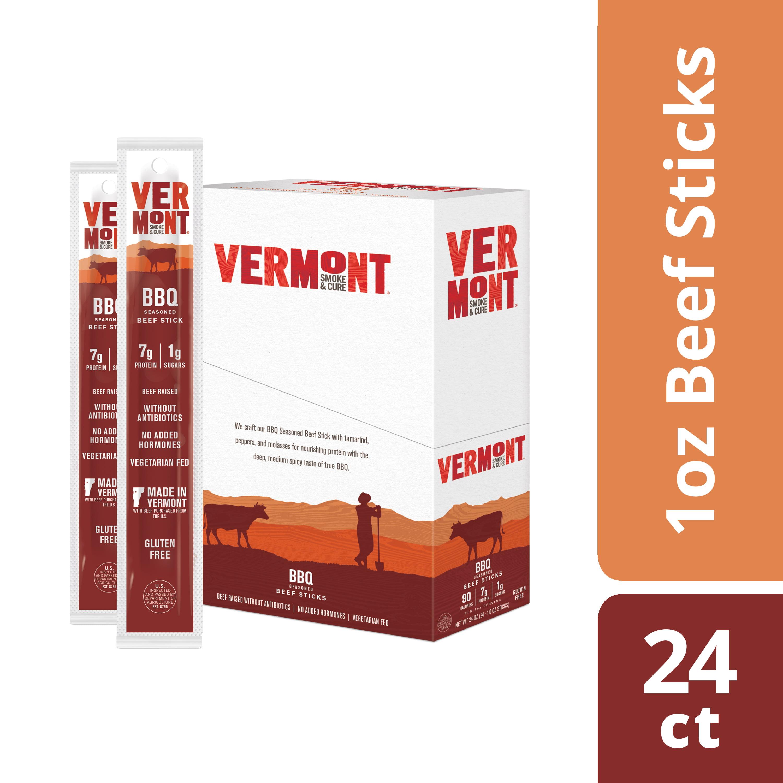 Vermont Smoke & Cure Meat Sticks, Beef, Antibiotic Free, Gluten Free, BBQ,  1oz Stick, 24 Count - Walmart.com
