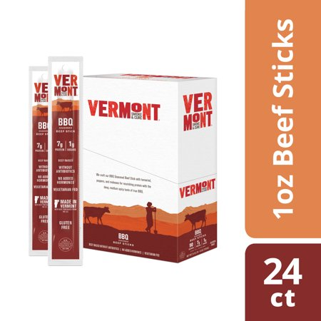 Vermont Smoke & Cure Meat Sticks, Beef, Antibiotic Free, Gluten Free, BBQ, 1oz Stick, 24 (Smoked Roast Beef)