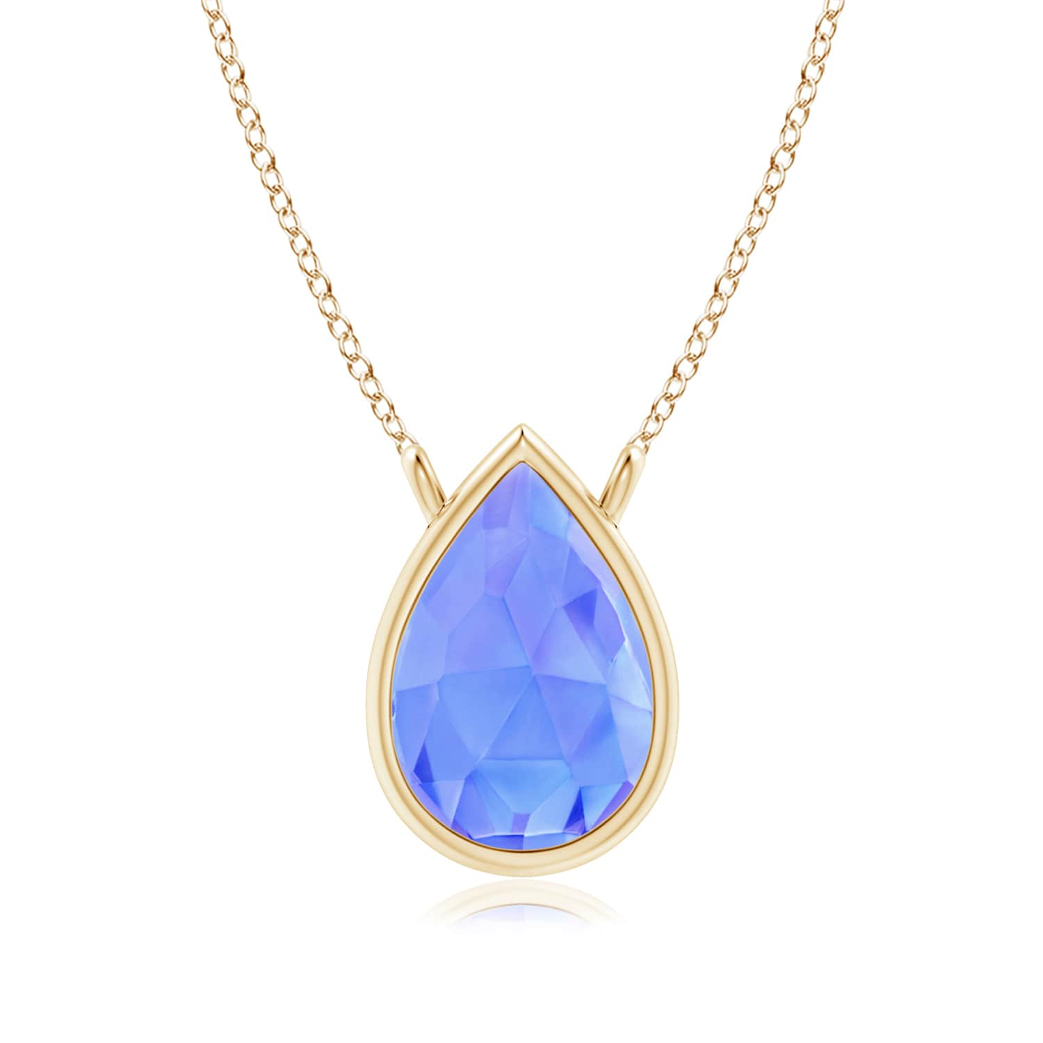Angara Pear Shaped Tanzanite Necklace in Yellow Gold kdlAXUvEJ
