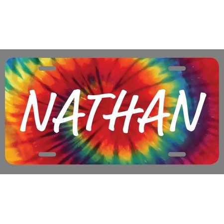 Nathan Name Tie Dye Style License Plate Tag Vanity Novelty Metal | UV Printed Metal | 6-Inches By 12-Inches | Car Truck RV Trailer Wall Shop Man Cave | (Nathan Style)