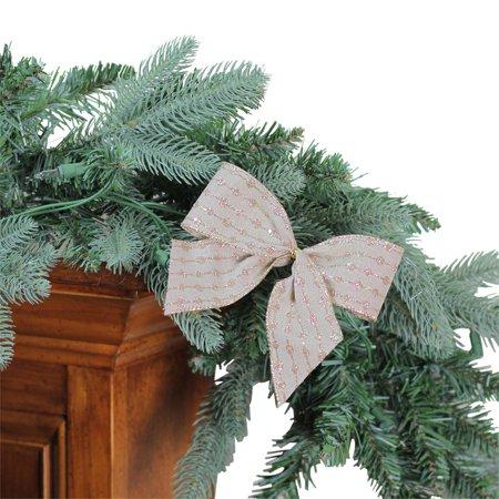 Northlight Glittered Stripes Mini Christmas Bow Decorations - Set of 6