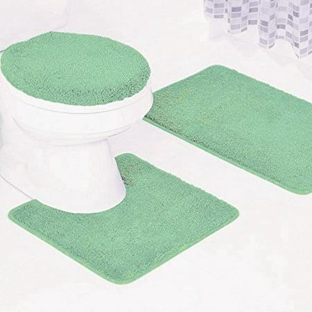 3 Pc   6   Sage Green Solid Plain Bathroom Bath Mat Set Includes  1 Contour Mat  1 Lid Toilet Cover  1 Bath Mat Ultra Absorbent With Anti Slip Backings
