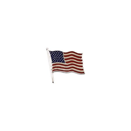 14k Yellow Gold American Flag Lapel Pin 17.5x17mm Color - 2.8 - American Flag Labels