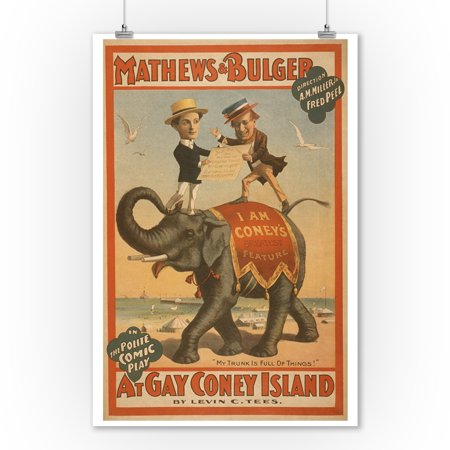 At gay Coney Island Musical Comedy Poster #3 (9x12 Art Print, Wall Decor Travel Poster)](Musical Decor)