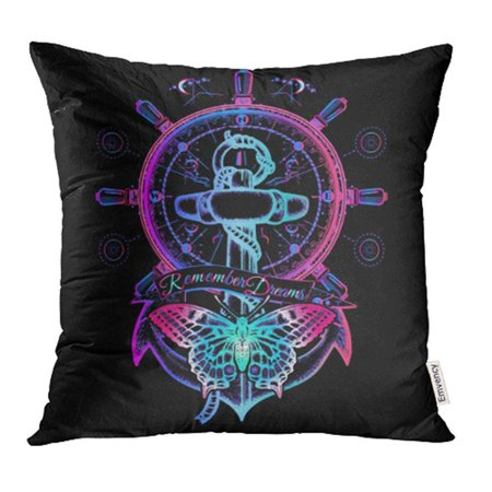 EREHome Anchor and Butterfly Neon Symbol of Freedom Marine Adventure Tourism Slogan Follow Pillow Case Pillow Cover 16x16 inch Throw Pillow Covers - image 1 of 1