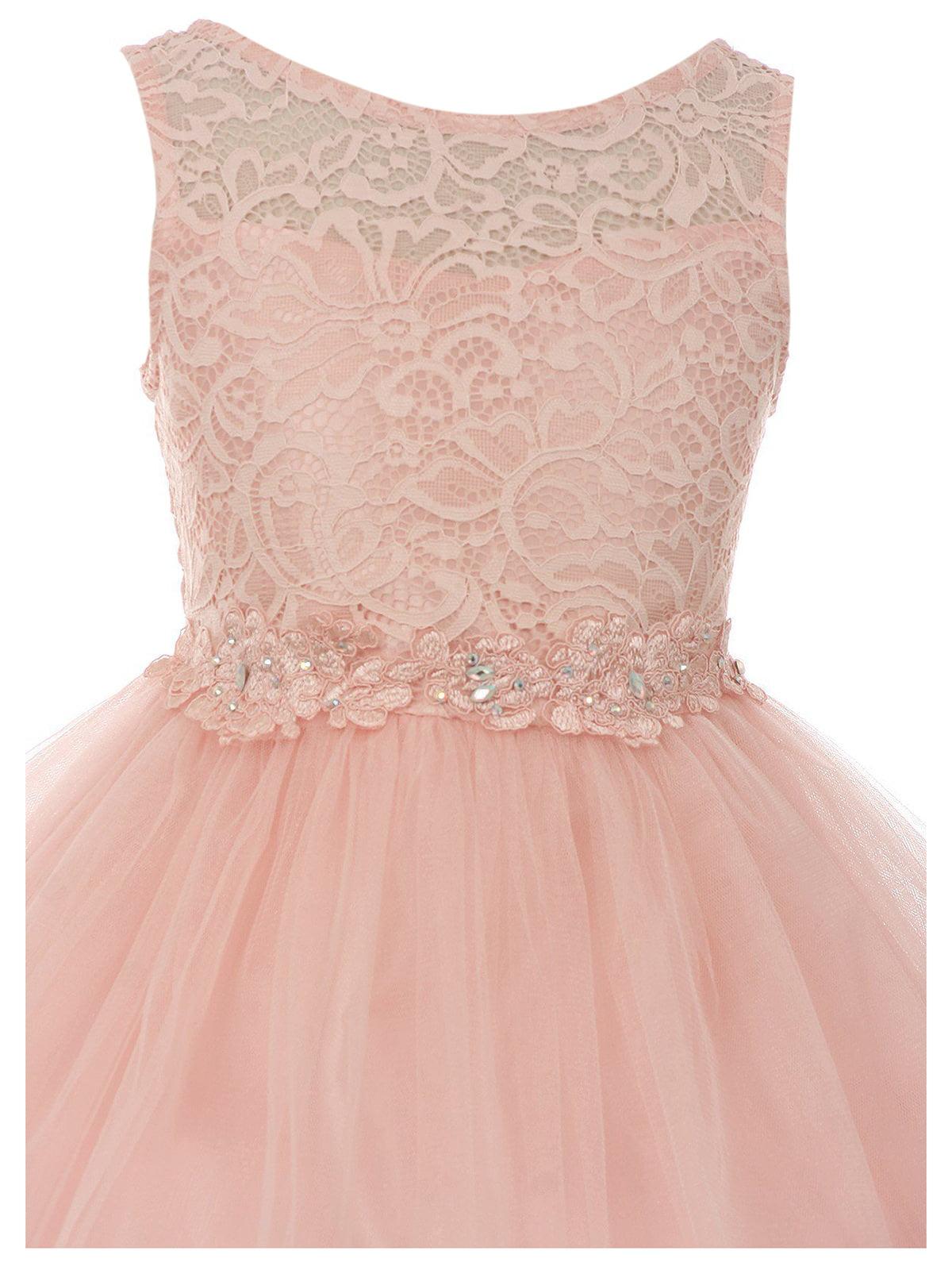 1e251c283 Dreamer P - Big Girls' Dress Lace Tulle Pageant Holiday Christmas Party Flower  Girl Dress Blush Size 18 (M10BK49) - Walmart.com