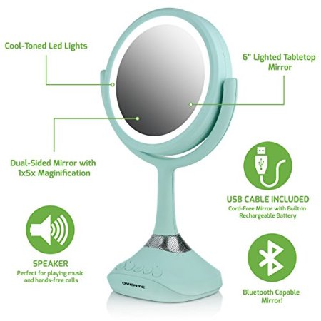 "Ovente 6"" Lighted Tabletop Makeup Mirror with Bluetooth Music Audio and Speakerphone, Rechargeable Battery Operated with USB Cable Included 1x/5x Magnification, Cool LED Light, Baby Blue (MRT06BL1X5X)"