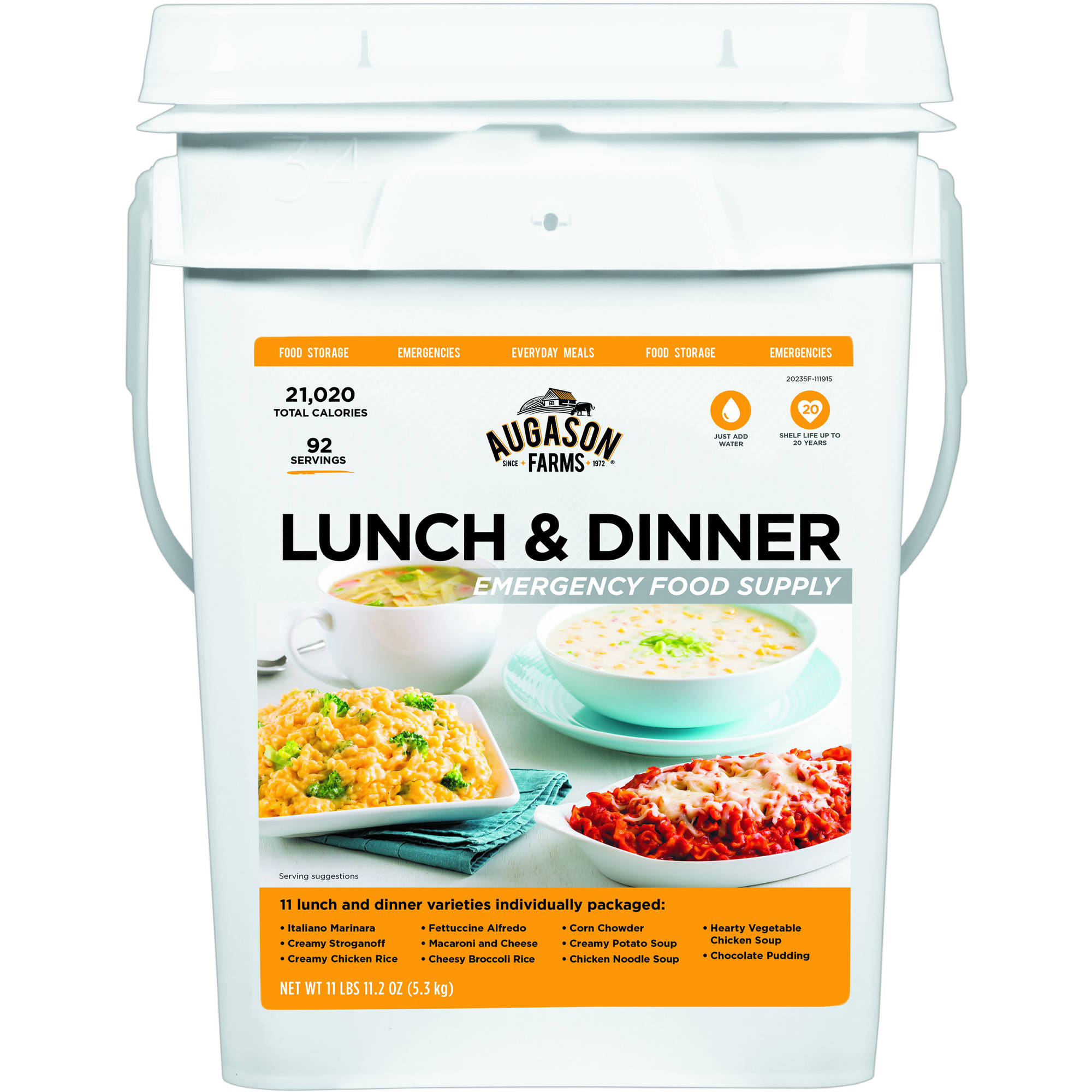 Augason Farms Lunch & Dinner Emergency Food Supply Storage Pail, 11.07 lbs