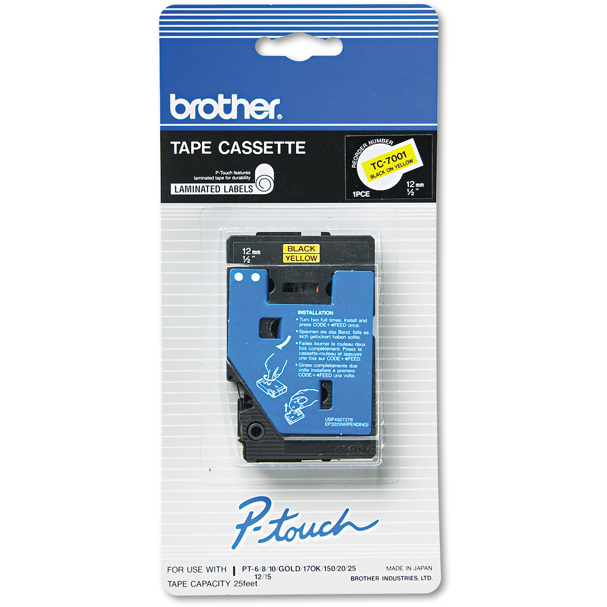 Brother P-Touch TC Tape Cartridge for P-Touch Labelers, 1/2w, Black on Yellow