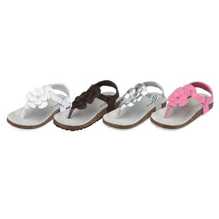 Toddler Little Girls T-Strap Flower Lined Summer Sandal Size 7-4
