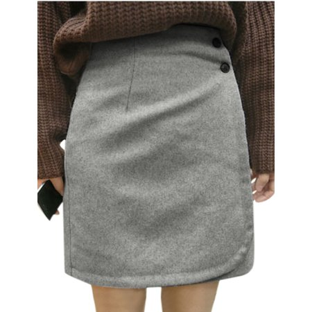 Allegra K Women's Mid Rise Button Closure Front Opening Straight Worsted Skirt Gray (Size M / 8)