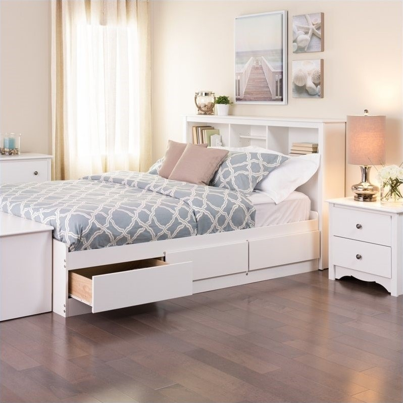 Prepac Monterey White Queen Bookcase Platform Storage Bed