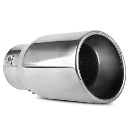 Chrome Exhaust Tip 3 Inch Inlet x 4 Inch Outlet x 9 Inch Long Bolt-on Polished Stainless Steel Rolled Edge Angle Cut Tailpipe 4' T409 Steel Exhaust