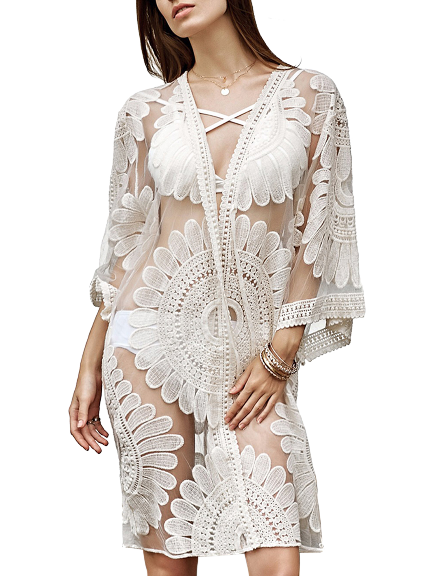 f156341cfd HIMONE - Women Beach Cover Up Swimsuit Floral Lace Open Front Kimono  Cardigan Beachwear Summer Bathing Suit Swimwear Long Tops - Walmart.com