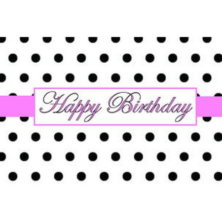 Black & White Polka Dot Happy Birthday Elegant Edible Frosting Photo Cake  Topper- Hot Pink
