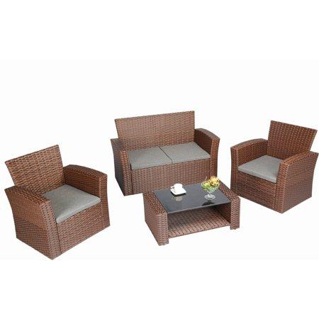 Baner Garden Outdoor Furniture Complete Patio Cushion PE Wicker Rattan Garden Set, Brown, 4-Pieces