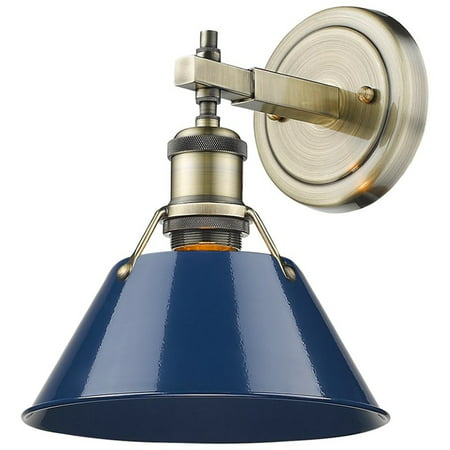 Aged Brass 2 Light (Beaumont Lane Steel Vanity Light in Aged Brass and Navy Blue )