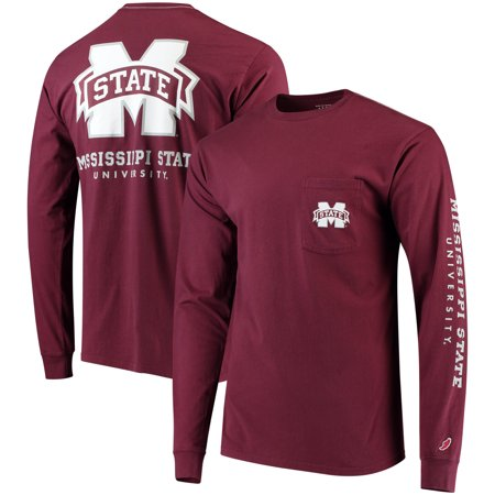 State Bulldogs Pocket - Mississippi State Bulldogs League Vintage Wash Pocket Long Sleeve T-Shirt - Maroon - S