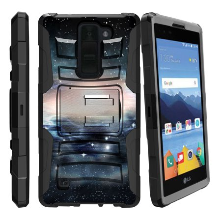 LG K8V and VS500 Miniturtle® Clip Armor Dual Layer Case Rugged Exterior with Built in Kickstand + Holster - Flying through Space](Mini Turtles)